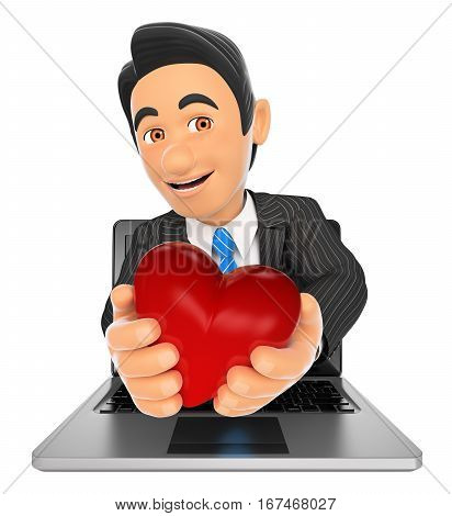 3d business people illustration. Businessman coming out a laptop screen with a red heart. Isolated white background.