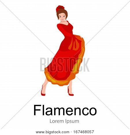 Girl flamenco dancer in red dress, spanish beautiful dance, spain young woman, music fashion person, happy sexy woman dancing flamenco, Spanish girl vector illustration isolated on white, Dancing flamenco woman