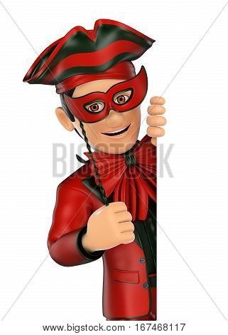 3d show business people illustration. Man with a carnival costume pointing aside. Blank space. Isolated white background.