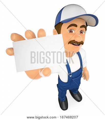 3d working people illustration. Mechanic showing a blank card. Isolated white background.