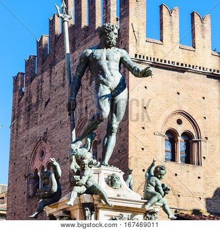 Statue Of Neptune In Bologna City In Sunny Day