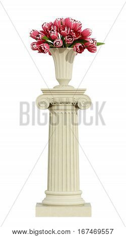 Ionic Pedestal With Roses On White