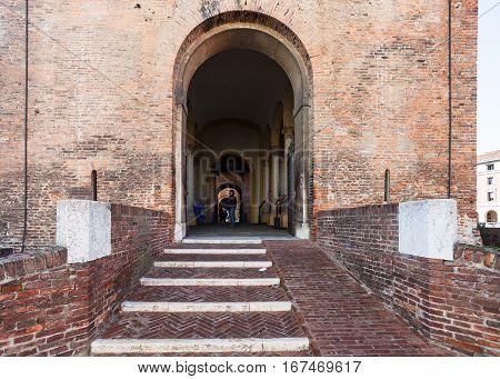Entrance In Castello Estense In Ferrara City