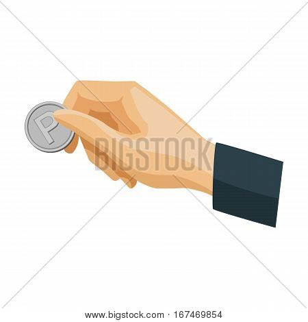 Hand holding coin for parking meter icon in cartoon design isolated on white background. Parking zone symbol stock vector illustration.
