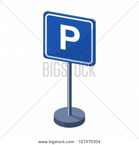 Parking sign icon in cartoon design isolated on white background. Parking zone symbol stock vector illustration.