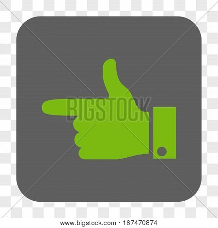 Hand Pointer Left interface toolbar button. Vector icon style is a flat symbol on a rounded square button light green and gray colors chess transparent background.