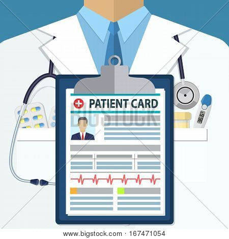 Medical Background of white doctors suit with different pills, clipboard patient card and medical devices in pockets. illustration in flat style