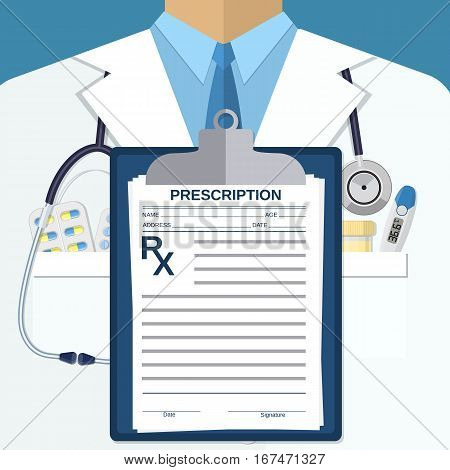 Medical Background of white doctors suit with different pills, clipboard Rx and medical devices in pockets. illustration in flat style