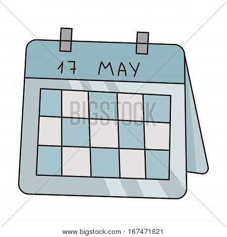 Calendar icon in cartoon design isolated on white background. Conference and negetiations symbol stock vector illustration.