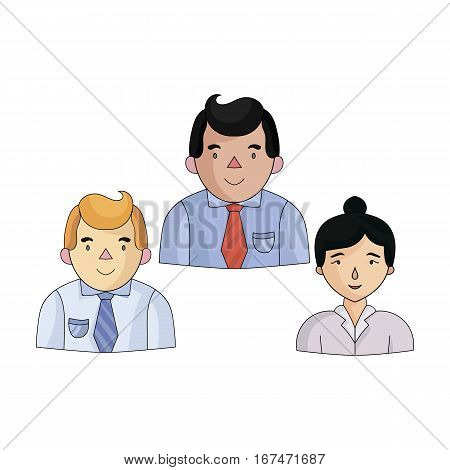 Business partners icon in cartoon design isolated on white background. Conference and negetiations symbol stock vector illustration.