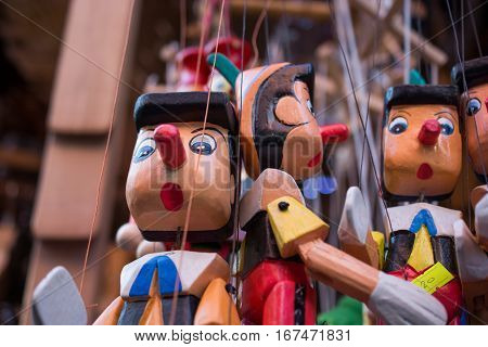 Wooden Pinocchio Dolls With His Long Nose