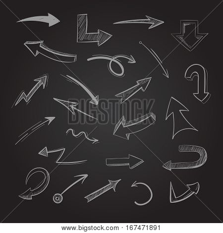 Abstract doodle chalk arrows on blackboard vector illustration. Hand draw scribble arrow, sketch arrows pointer on challboard