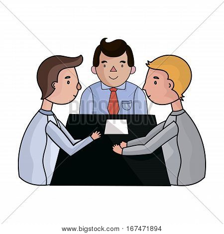 Conference icon in cartoon design isolated on white background. Conference and negetiations symbol stock vector illustration.