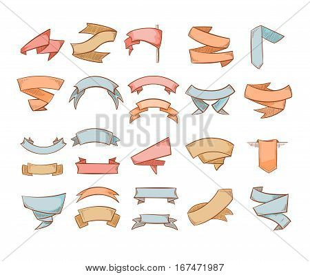 Cute banners, sketched ribbons, tags doodle vector set. Grunge engraving decoration ribbons, etching color curve ribbon label illustration
