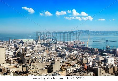 View on the city and harbour of Montevideo capital of Uruguay