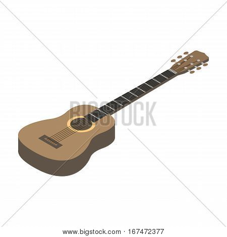 Acoustic guitar icon in cartoon design isolated on white background. Musical instruments symbol stock vector illustration.