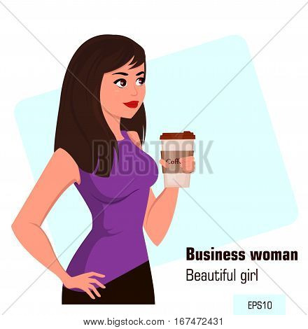 Young cartoon businesswoman with coffee wearing a free dress style. Beautiful brunette girl having a rest while coffee break. Isometric business woman with 3D effect. Vector illustration. EPS10