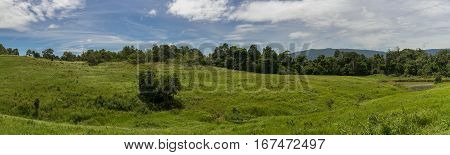 Panoramic mountain landscape in Khao Yai Nakhon Ratchasima Thailand. Green grassland and bright blue sky in summer.