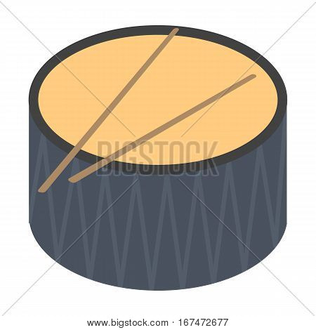 Drum icon in cartoon design isolated on white background. Musical instruments symbol stock vector illustration.