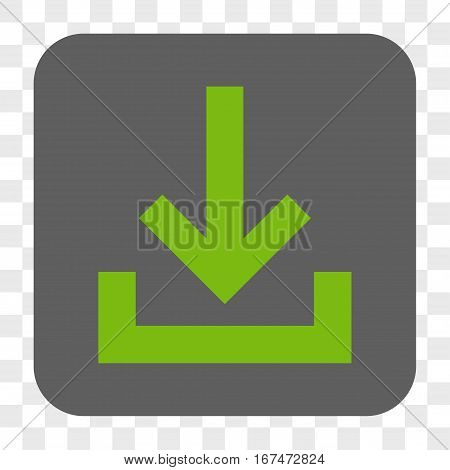 Inbox interface toolbar button. Vector icon style is a flat symbol in a rounded square button light green and gray colors chess transparent background.