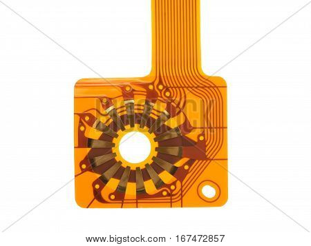 detail of flexed printed circuit on white background
