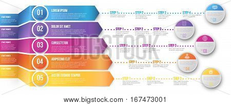 3D Arrows pointed to different ways with several steps for your goals - colored vector graph template on white background