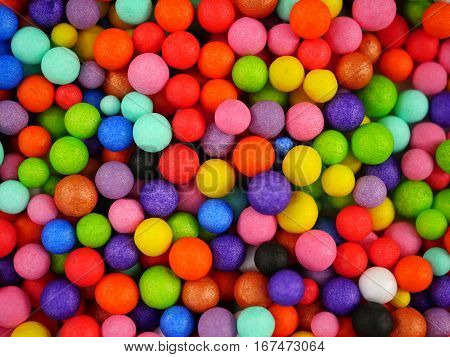 background with colored balls yellow red blue