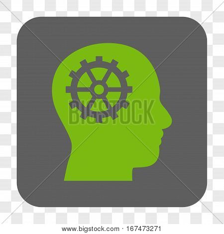 Intellect interface toolbar button. Vector icon style is a flat symbol inside a rounded square button light green and gray colors chess transparent background.