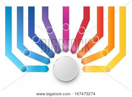 Many different ways colored arrows pointed to one target or goal, vector infographics template