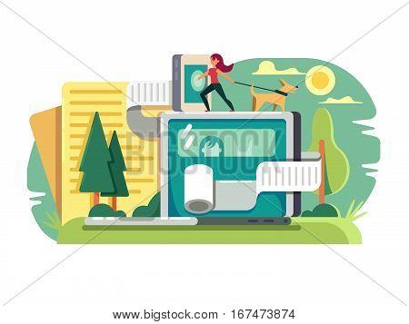 Web blogging conceptual. Description pastime in blog post on website Vector illustration poster