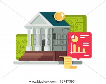 Bank and banking finance icon. Accumulation and capitalization deposit box. Vector illustration