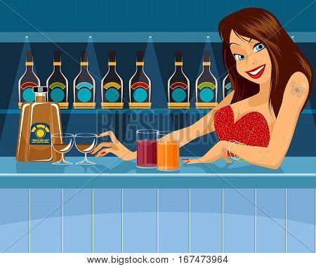 Vector illustration of a sexy bartender behind bar