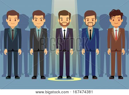 Employees job candidate selection, business recruitment vector concept. Select candidate to work, illustration candidate in ray of light