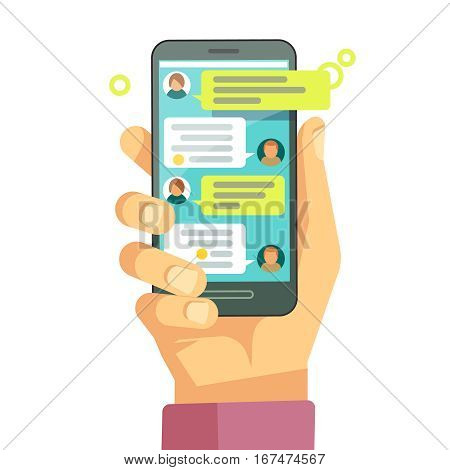 Chatting with chatbot on phone, online conversation with texting message vector concept. Messaging using phone, illustration of screen with messaging