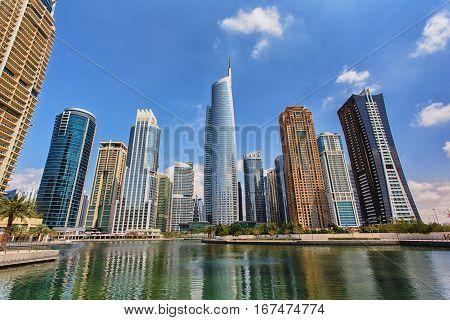 View on the Jumeirah Lakes Towers skyscrapers. Dubai UAE.