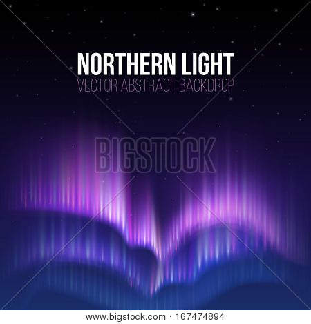 Aurora borealis, northern light winter vector abstract backdrop. Color northern light background, night sky with abstract northern light illustration