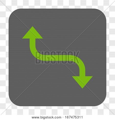 Opposite Bend Arrow interface toolbar button. Vector icon style is a flat symbol on a rounded square button light green and gray colors chess transparent background.