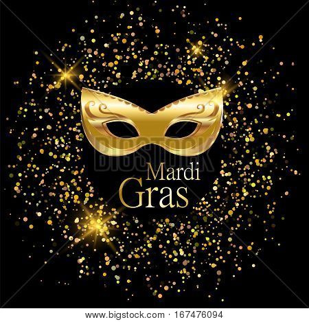 Mardi Gras golden carnival mask with ornaments for poster greeting card party invitation banner or flyer on black background with golden sand. EPS10. Vector Illustration.