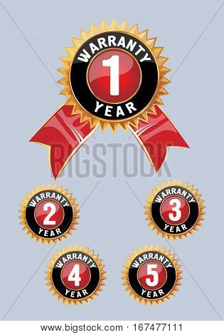One year warranty icon isolated. Warranty seal with ribbon.