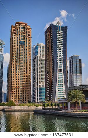 View On The Jumeirah Lakes Towers Skyscrapers. Dubai, Uae.