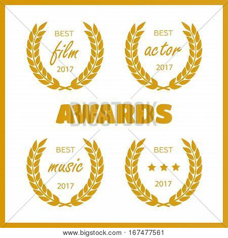 Set of awards for best. Film award wreaths isolated on the white background.