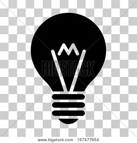 Hint Bulb vector pictogram. Illustration style is flat iconic black symbol on a transparent background.