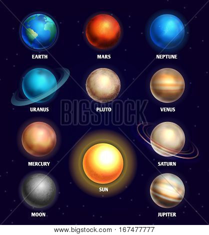 Planets of solar system and sun education vector illustration. Planets of olar system for design planetarium