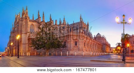 Panorama of catholic Cathedral Saint Mary of the See in the morning, Seville, Andalusia, Spain