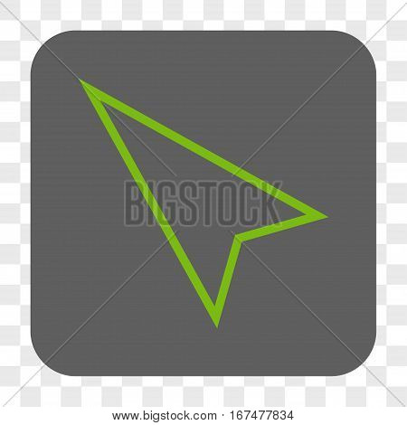 Pointer Left Up interface toolbar button. Vector icon style is a flat symbol in a rounded square button light green and gray colors chess transparent background.