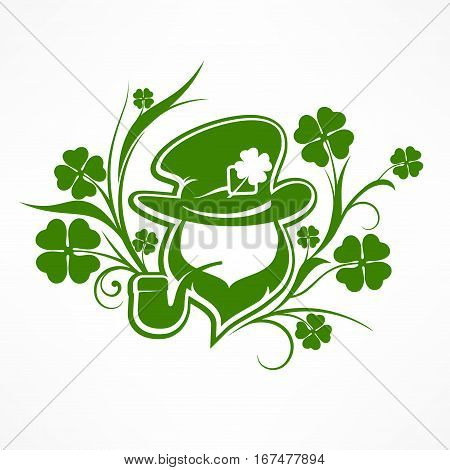 Leprechaun Lucky Symbols On White