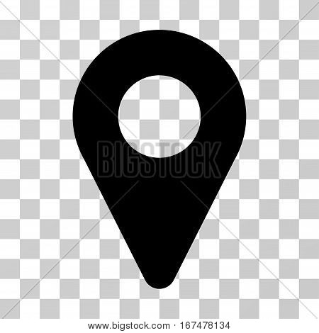 Map Marker vector pictograph. Illustration style is flat iconic black symbol on a transparent background.