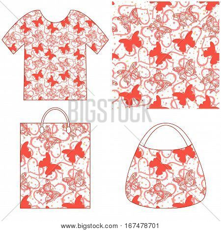 Seamless Holiday Background with Butterflies Silhouettes, Valentine Outline Hearts and Confetti, Colorful Tile Pattern for Your Design, Presented in Tank Top, Women Bag and Grocery Bag. Vector