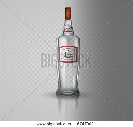 Glass vodka bottle with screw cap. Vector illustration.
