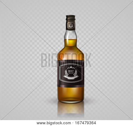 Glass brandy , bottle with screw cap, isolated on white background. Vector illustration.